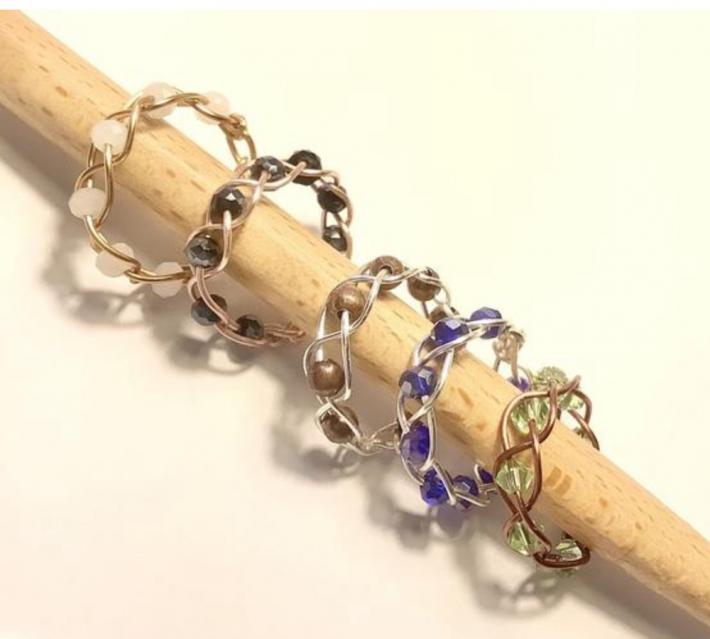 Beaded Braided Wire Rings