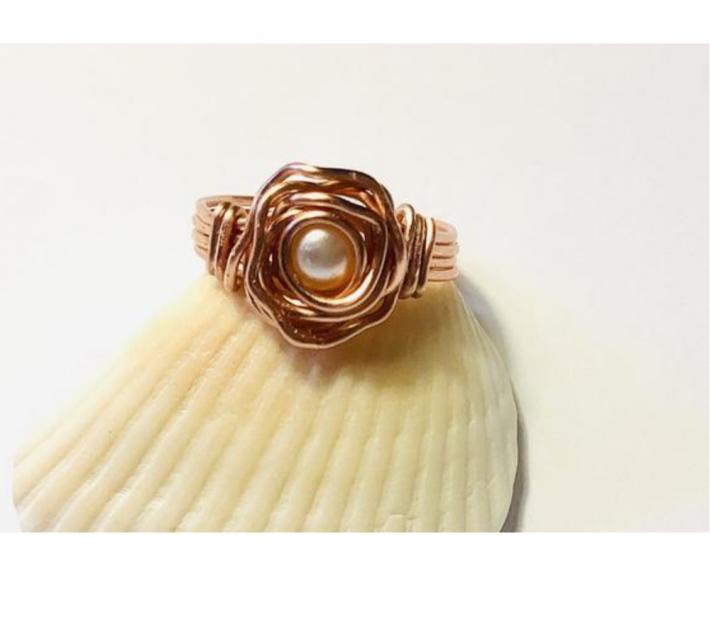 Copper Wire Wrap Rose Ring with Pearl