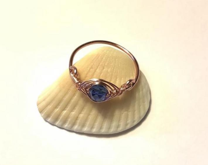 Rose Gold Wire Wrapped Herringbone Blue Crystal Ring