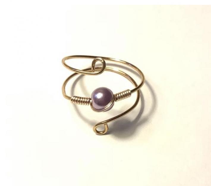 Gold Wire Wrap Ring with Lavender Pearl