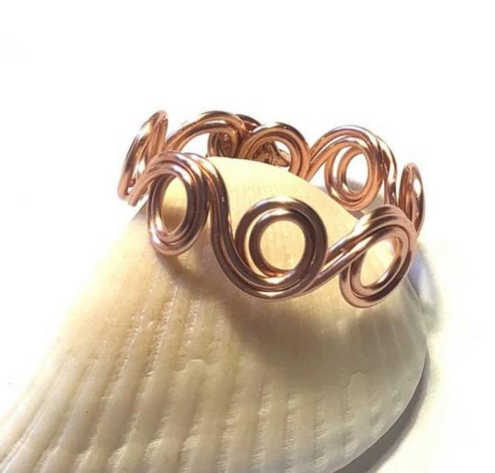 Copper Wavy Swirl Ring