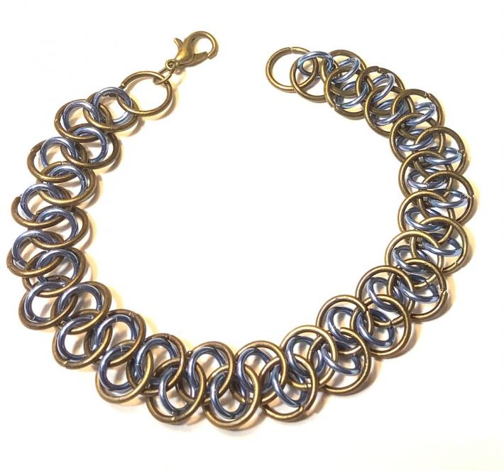 Bronze and Blue Chainmaille Bracelet
