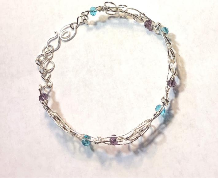 Silver Butterfly and Crystals Bracelet