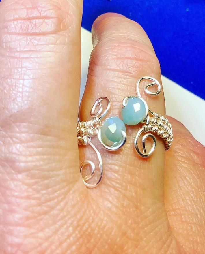 Silver Wire Wrap Ring with Light Blue Crystals