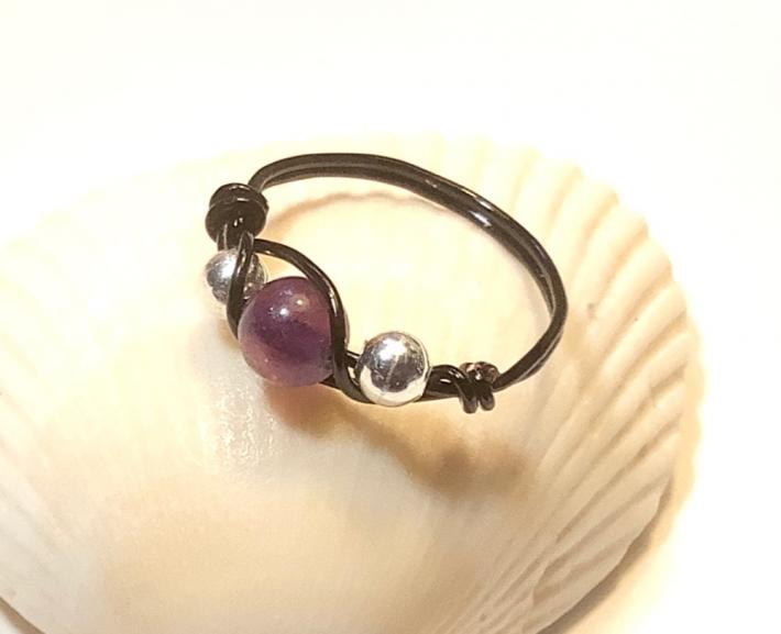 Black Wire Wrap Ring with Purple Fluorite Bead
