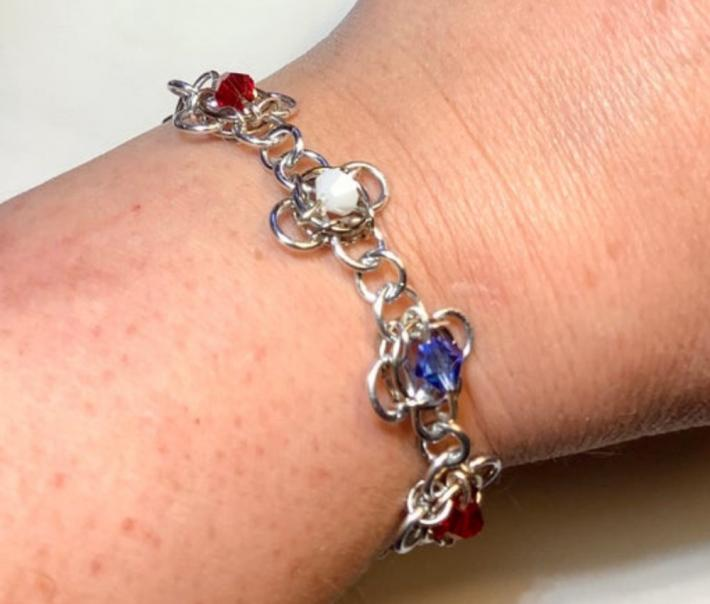Red White and Blue Patriotic Chainmaille Flower Bracelet