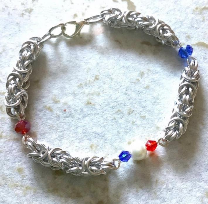 Silver Byzantine Chainmaille Patriotic Bracelet
