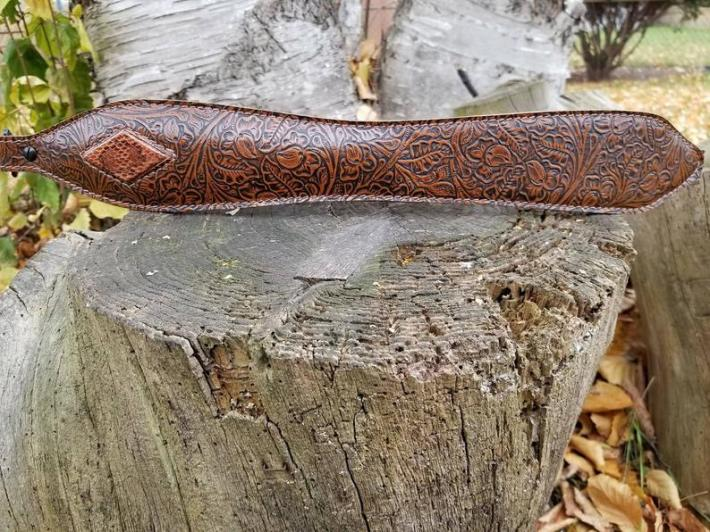 Brown Snakeskin 3 D Diamond Western Style Embossed Leather Rifle Sling  LIMITED QUANTITY