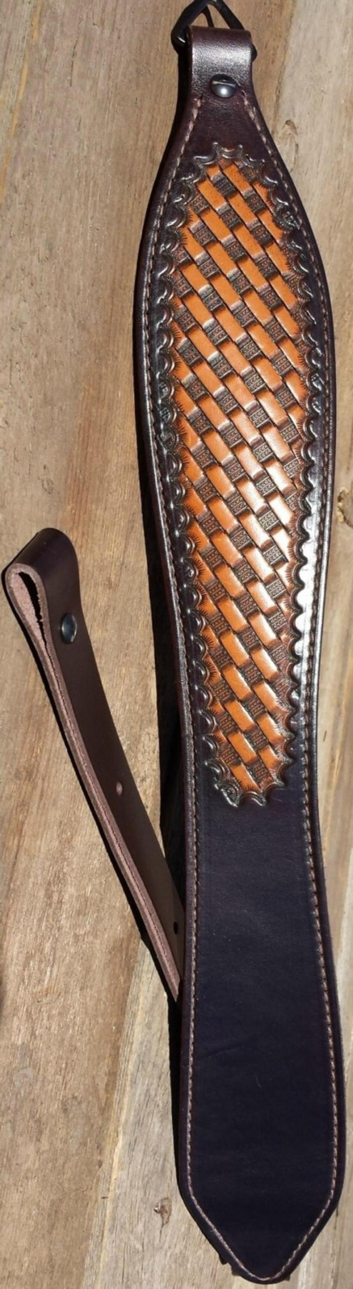 Hand Tooled Light Brown Rifle Sling Basket Weave Pattern