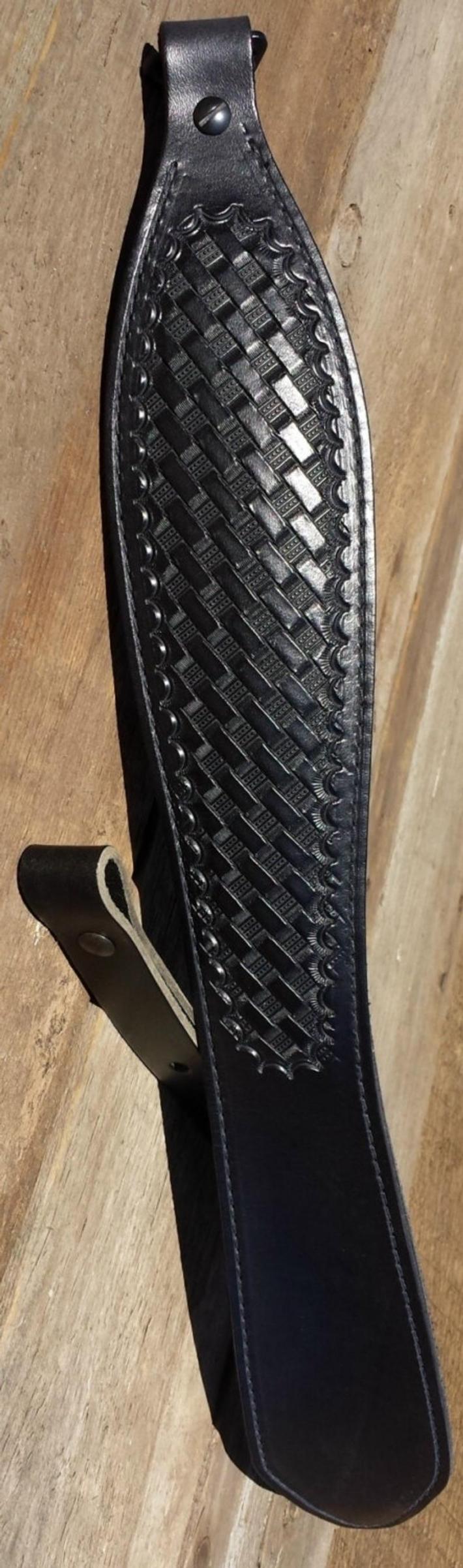 Hand Tooled Black Rifle Sling Basket Weave