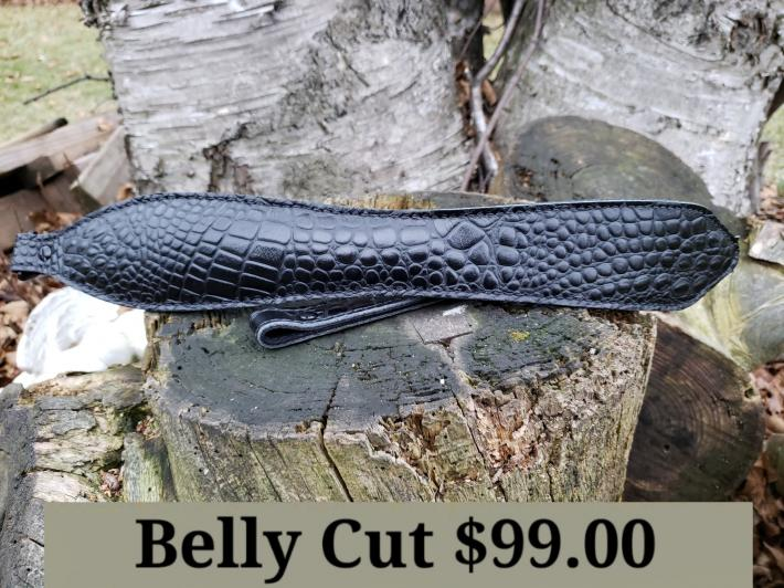 Supreme Cowhide Leather Belly Embossed Gator Rifle Sling Black