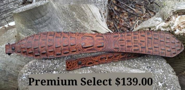 Genuine Leather Embossed Gator Rifle Sling Color Acorn Premium Select