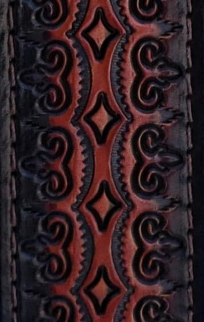 Hand Tooled Leather Guitar Strap Regal Diamond Pattern 2 and a quarter inch