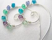 Peacock Swirl Hoop Earrings Swarovski Crystal Earrings