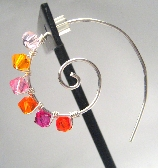 Pink and Orange Swirl Hoop Earrings Sterling Silver Hoops