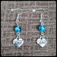 Mermaid Blue Love Earrings