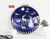 Cross stitch pattern landscape Winter for Christmas