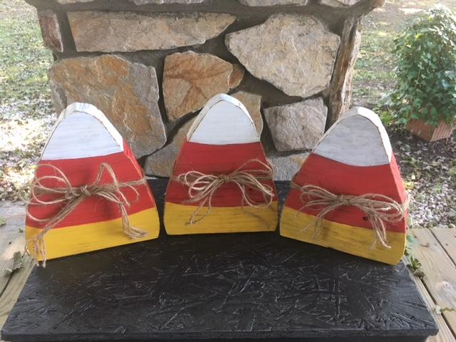 Set of Three Candy Corn Decorations made from Reclaimed Barn Wood