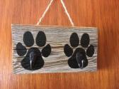 Rustic Country Paw Print Reclaimed Barn Wood with Hooks for Leashes