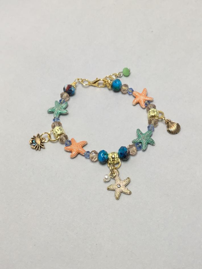 Blue orange and green starfish bracelet