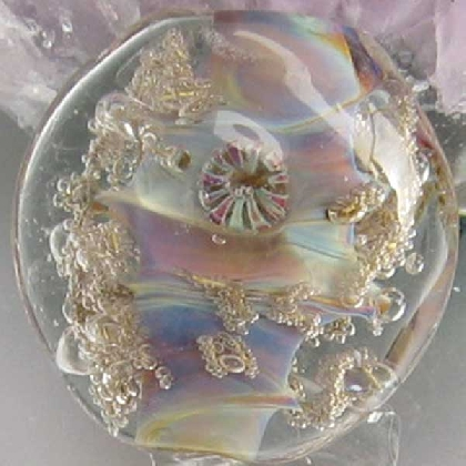 Bubble Cove Lampwork Tab Focal Bead