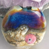 Sunset Beach Lampwork Tab Focal Bead