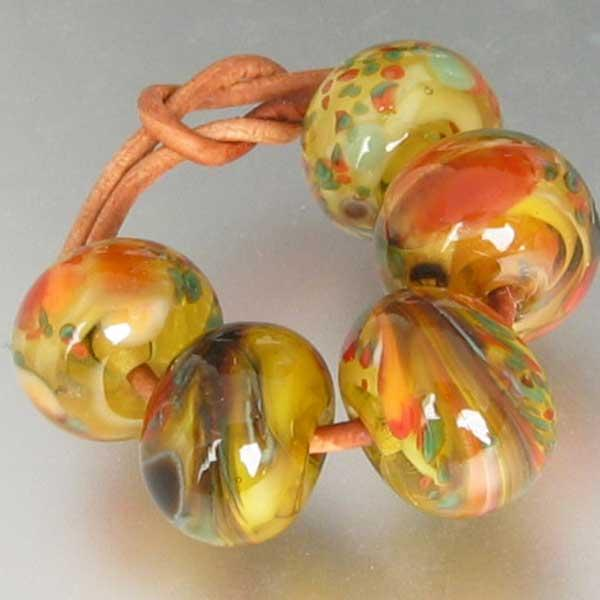 Autumn in Vermont 5 Lampwork Spacer Beads