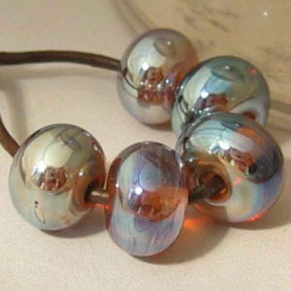 Amber Aurora 5 Lampwork Spacer Beads