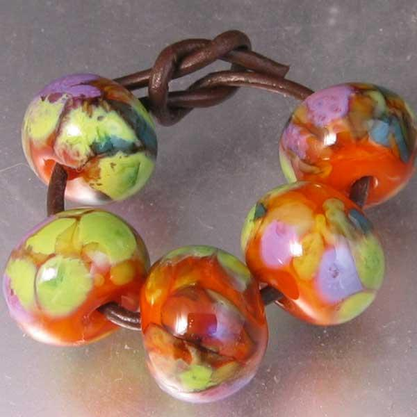 5 Autumn Woodland Lampwork Spacer Beads Grab Bag