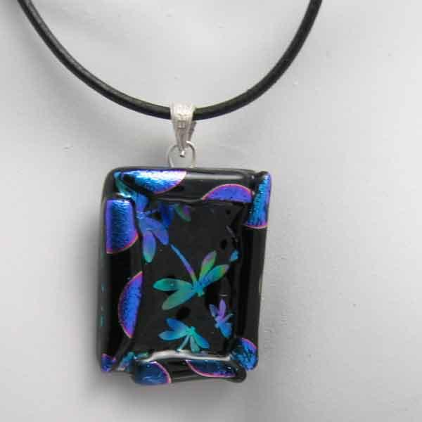 Dragonfly Fused Dichroic Pendant Necklace