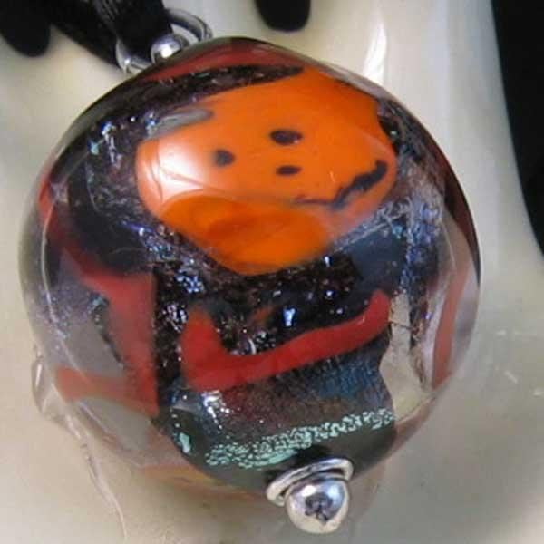 Halloween Gazing Globe Lampwork Focal Bead Pendant Necklace sra