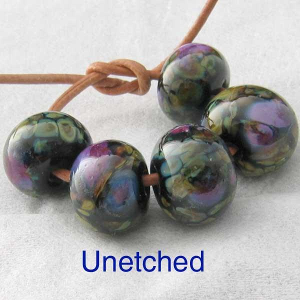 Night Blooms 5 Lampwork Spacer Beads sra
