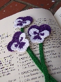 BookMark  Crocheted  Pansy  Purple and White