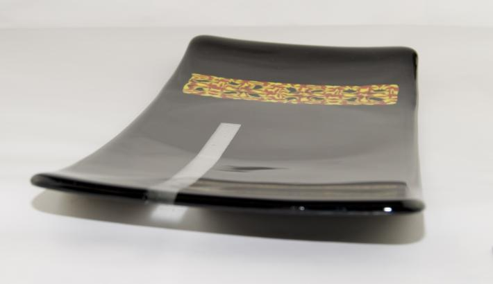 Sushi Plate Black Red Yellow Fused Glass