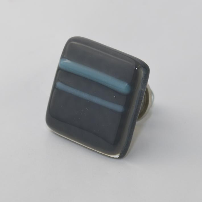 Cabinet Knobs Grey with Blue Stripe Fused Glass set of 8