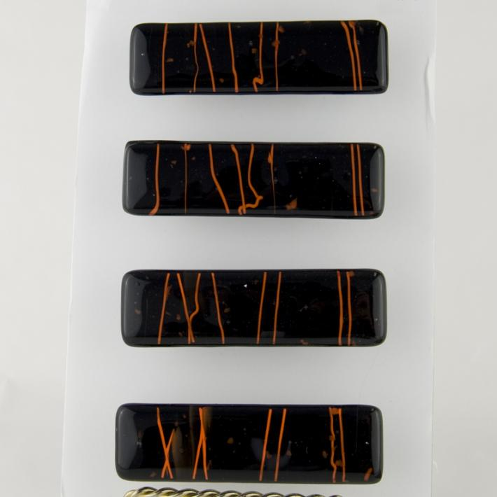 Cabinet Drawer Pulls Black with Orange Streaks Fused Glass set of 4