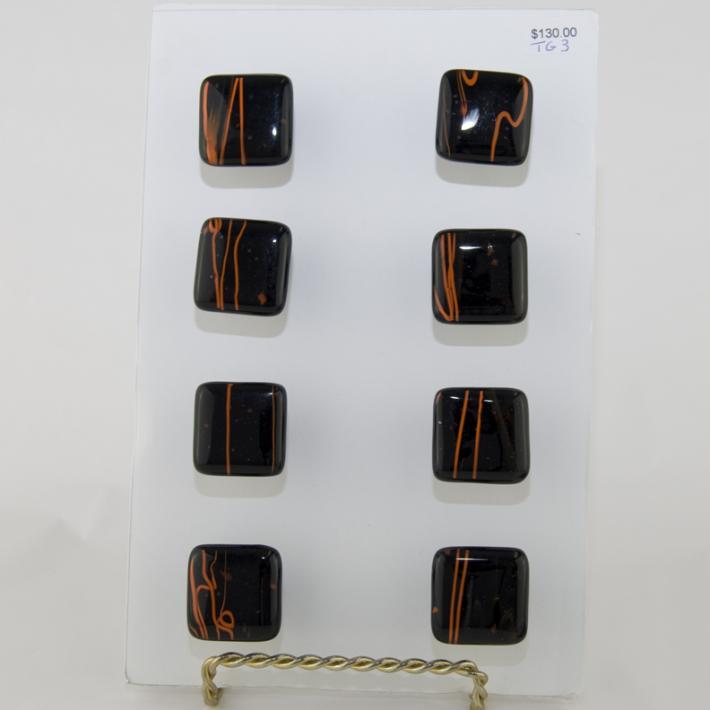 Cabinet Knobs Black with Orange Streaks Fused Glass set of 8