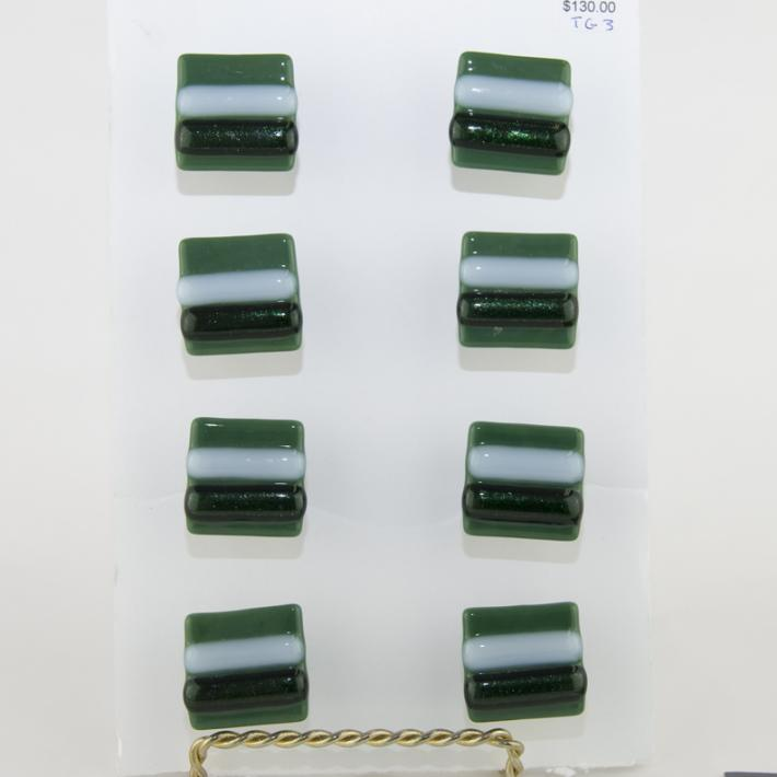 Cabinet Knobs Green with White and Adventurine Fused Glass set of 8