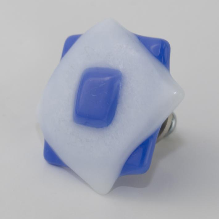 Cabinet Knobs Periwinckle Blue and White Fused Glass set of 8