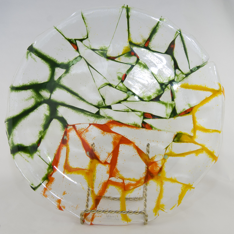 Delightful Fracture Fused Glass Plate