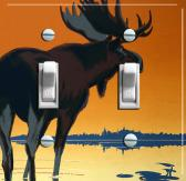 MOOSE in Sunset Vintage Poster Double Switch Plate FREE SHIPPING