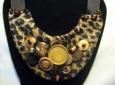 Leopard and Vintage BuTTon Bib Necklace