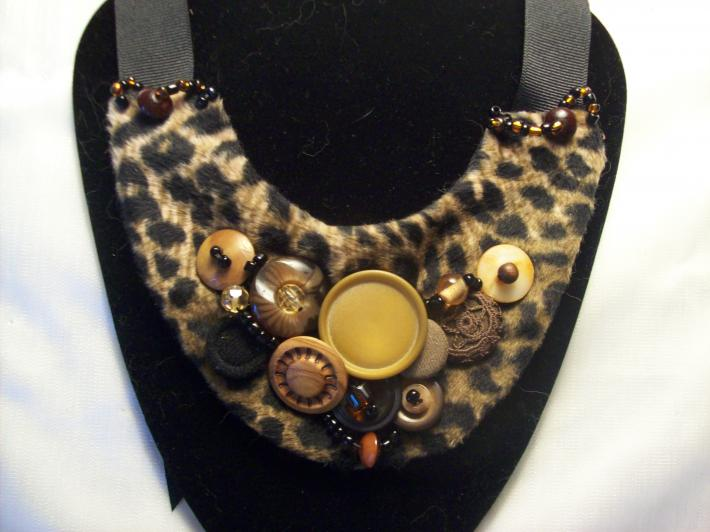 Leopard and Vintage BuTTon Bib Necklace