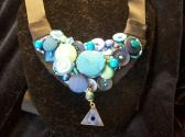 Sea foam green to sky blue Vintage BuTTon Necklace