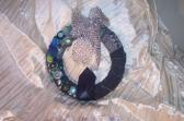 RE PURPOSED DENIM JEANS VINTAGE BUTTONS AND BAUBLE SILK TIES 10 INCH WREATH