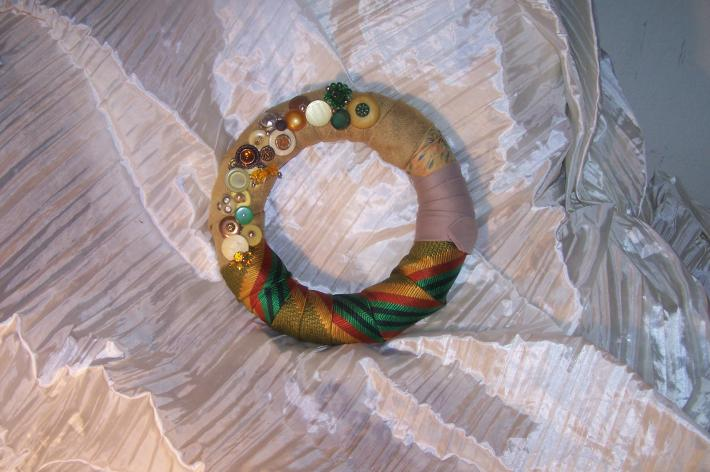 OOAK RE PURPOSED VINTAGE SILK TIES AND VINTAGE BUTTONS COSTUME JEWELRY  WREATH