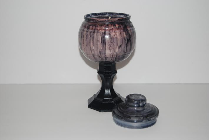 20 ounce black alcohol ink witches cauldron candle