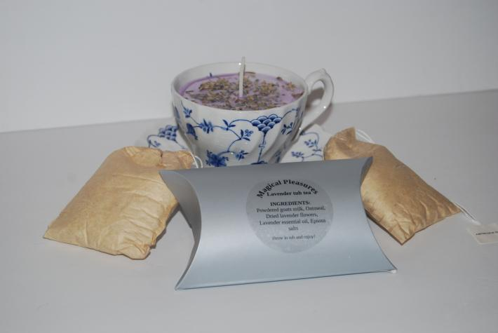 Lavender tea cup candle and tub tea gift set
