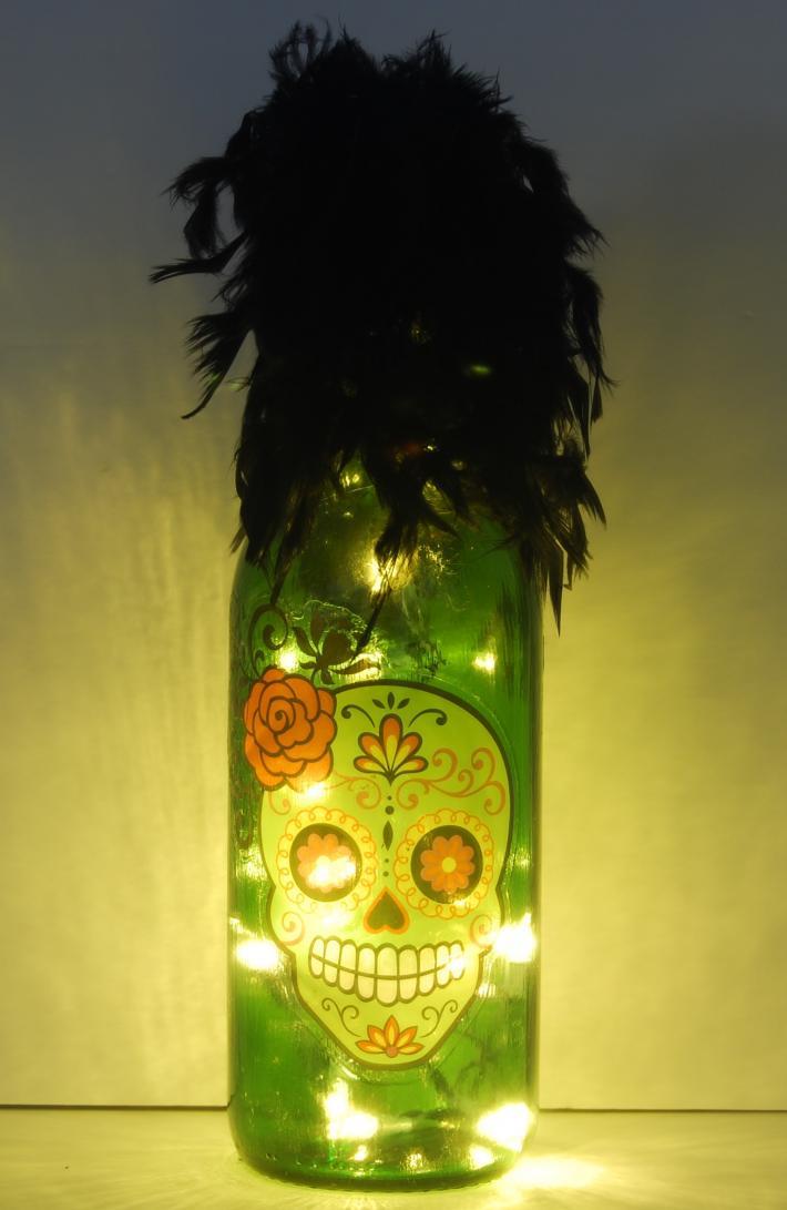 Skull light with rose