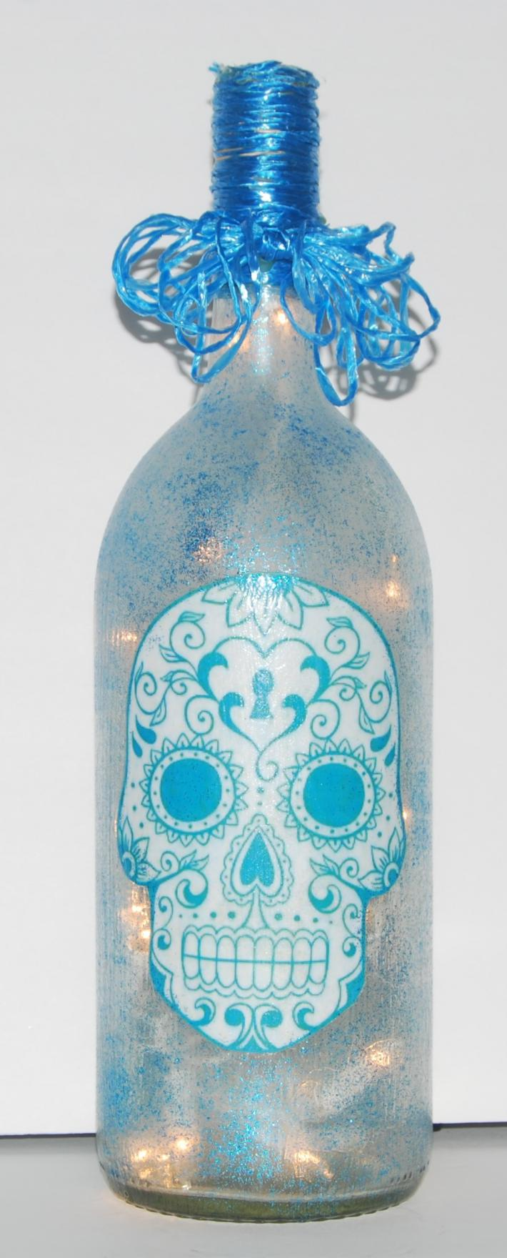 Blue skull bottle light